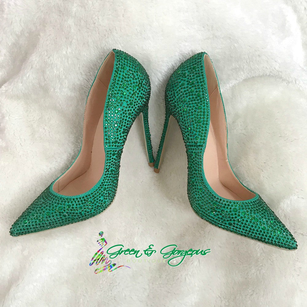 Green Crystal Rhinestone High Heels