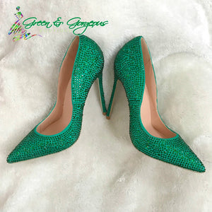 Green Rhinestone Pumps