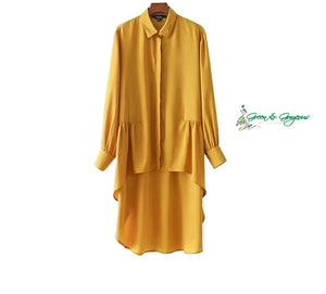 Yellow Asymmetrical Long Pleated Shirt