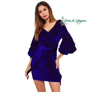 Blue Velvet Ruffle Sleeve Dress