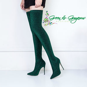 Open image in slideshow, Hunter Green Thigh High Shiny Glitter Stretch Elastic Boots