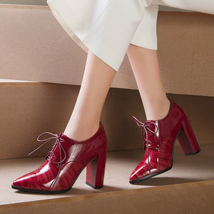 Red Pointy-toe Lace-up Block Heel Ankle Booties
