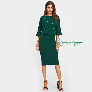 Green Pearl Embellished Dress