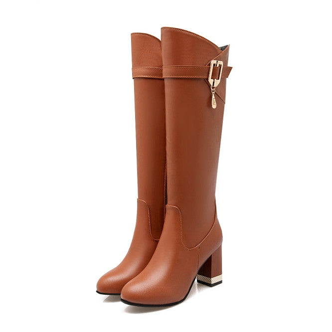 Brown Knee-High Boots Square Heels Round Toe
