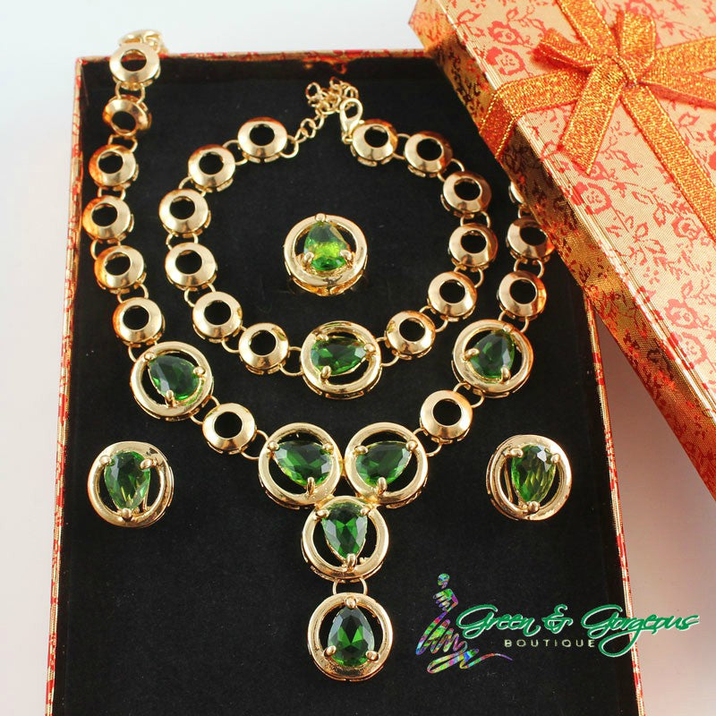 Green Zircon Rhinestone Necklace Set
