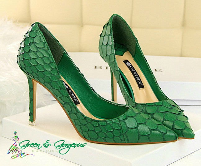 Green Pointed-Toe Textured High Heel