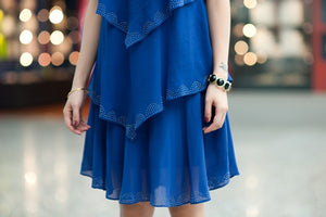 Blue Loose Chiffon Dress