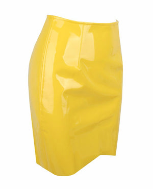 Yellow Low-Waist Leather Skirt