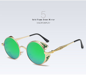 Green Polarized Mirrored Round Sunglasses