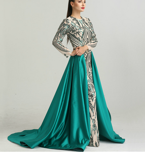 Green Printed Evening Gown With Train