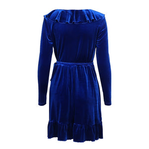 Blue Velvet Wrap Dress