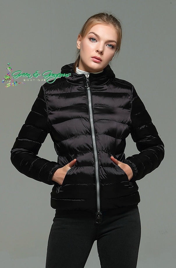 Black Slim Hooded Coat