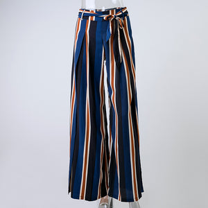 Blue Striped Loose Pants