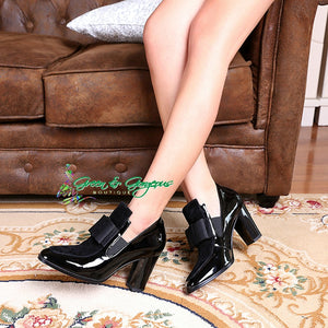 Black Leather Square Toe Pumps