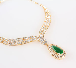 Green Vintage Crystal Necklace Set