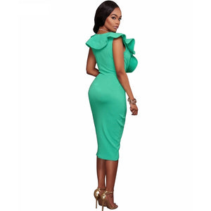 Mint Green Ruffled V-Neck Dress
