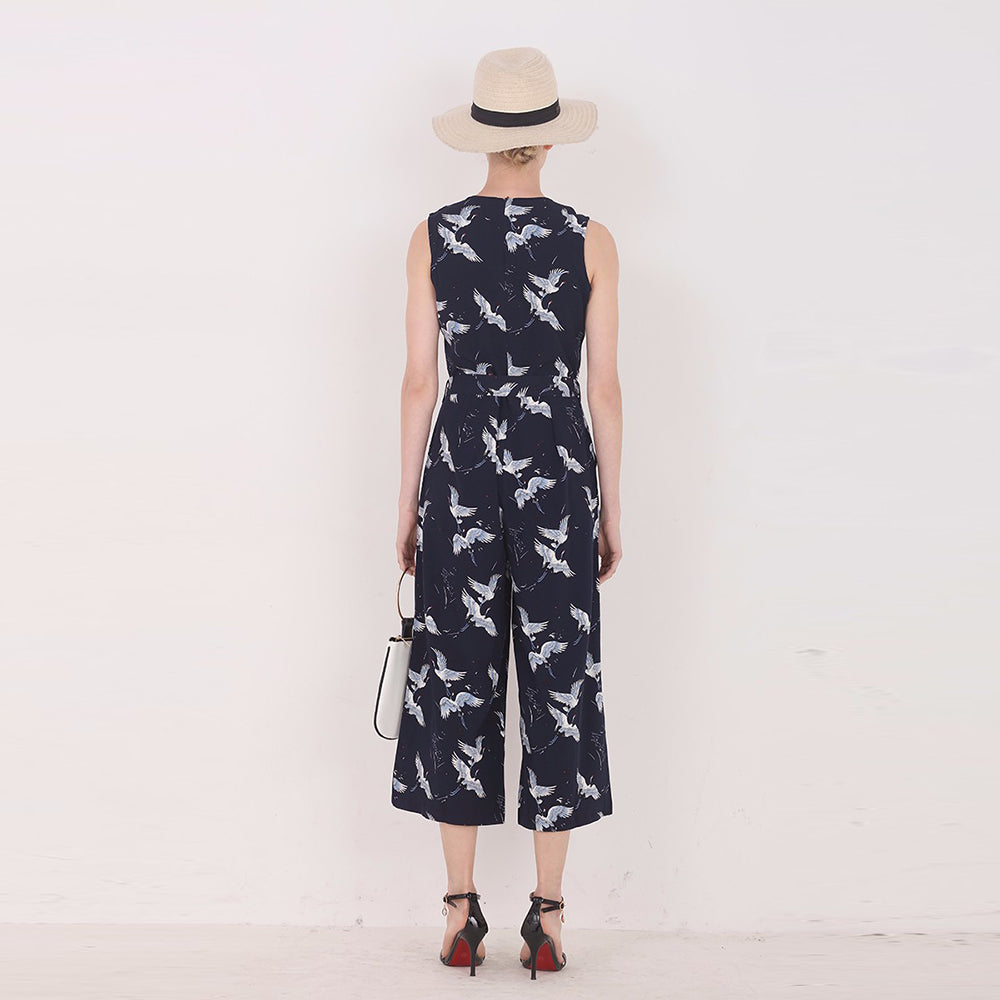 Blue Bird Print Jumpsuit