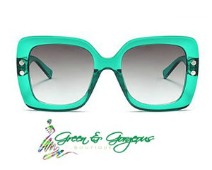 Green Transparent Square Frame Sunglasses