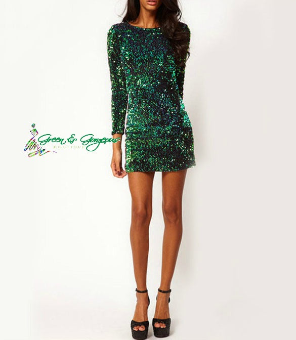 Green Long Sleeve Sequin Dress