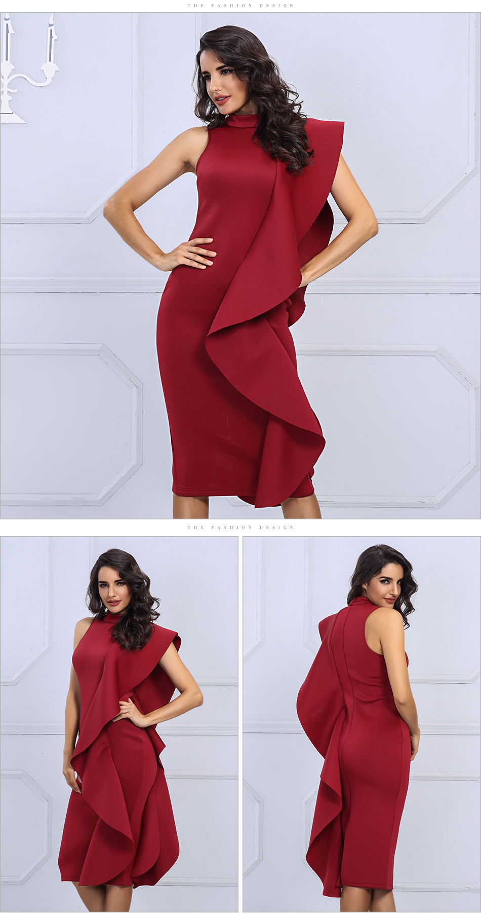 Red Sexy Sleeveless Patchwork Ruffles Bodycon Dress