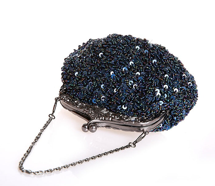 Blue Sequin Clutch