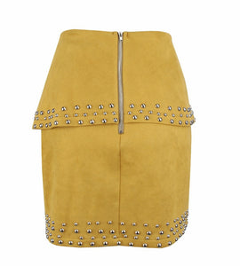 Yellow Studded Cut-out Skirt