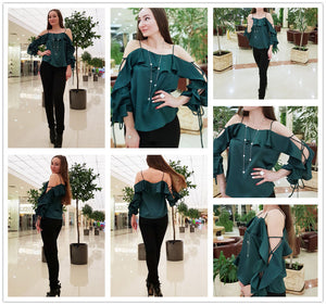 Green Lace Up Silk Blouse
