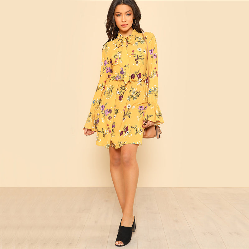 Yellow Floral Bow-Tie Dress