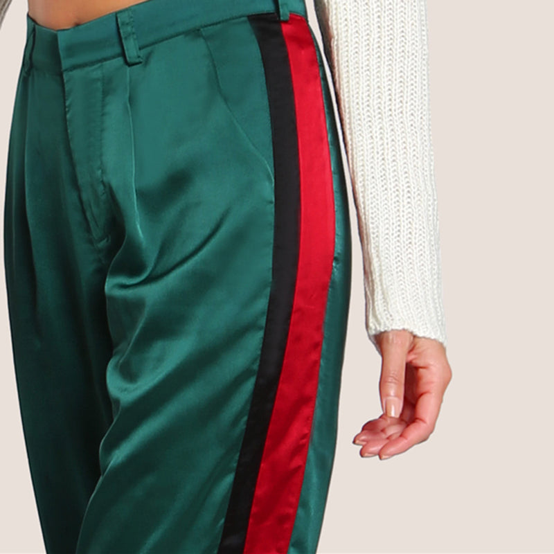 Green Striped Wide Leg Pants