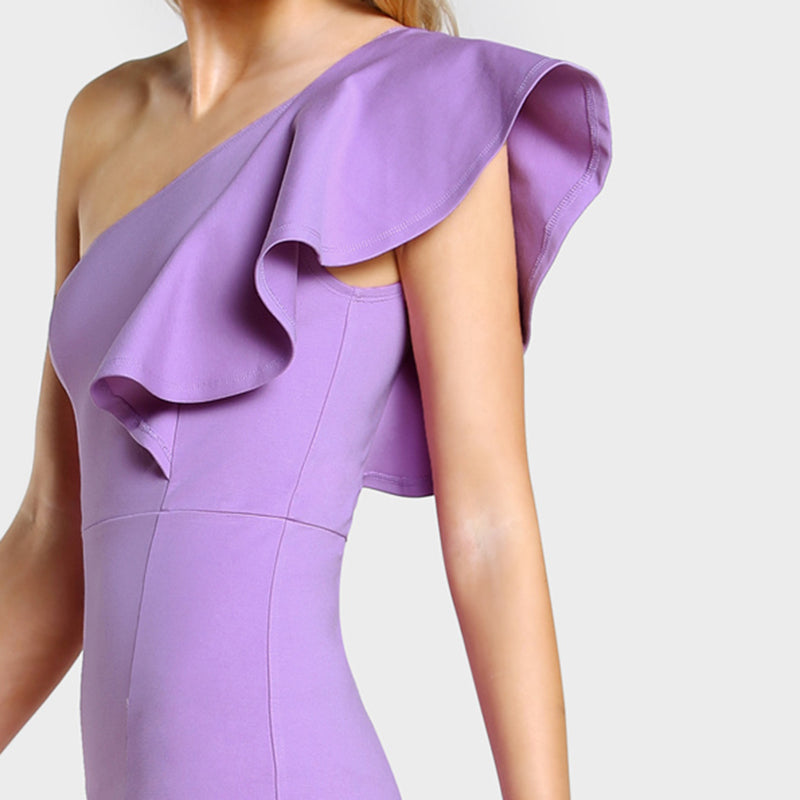 Purple Peplum Hem Dress