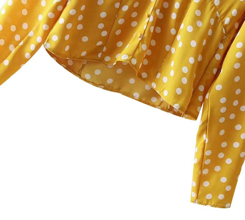Yellow Polka Dot V-Neck Blouse