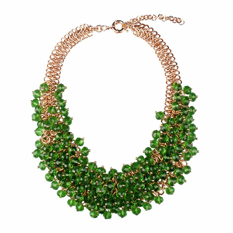 Green Bohemian Style Crystal Necklace