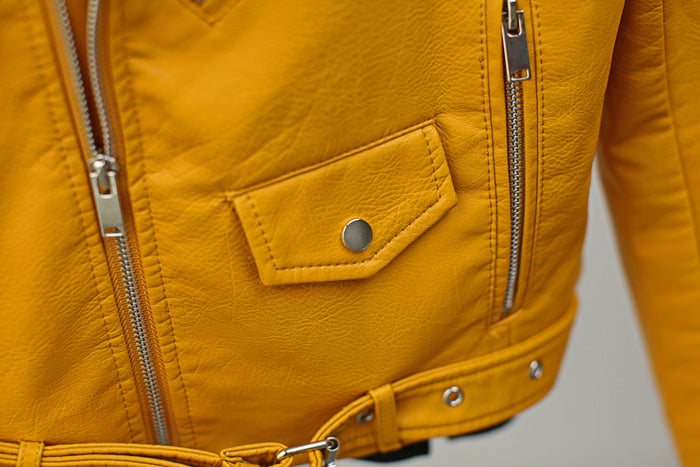 Canary Yellow Leather Jacket Long Sleeve Turn-Down