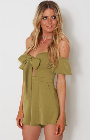 Green Strapless Bow-tie Romper