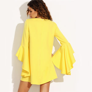 Ruffle Sleeve Summer Dress Yellow Crew Neck