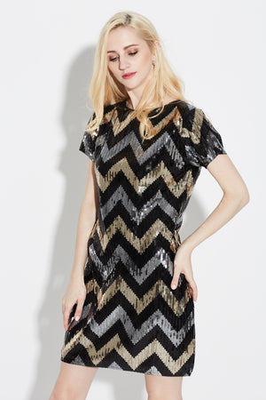 Black Geometric Sequin Dress