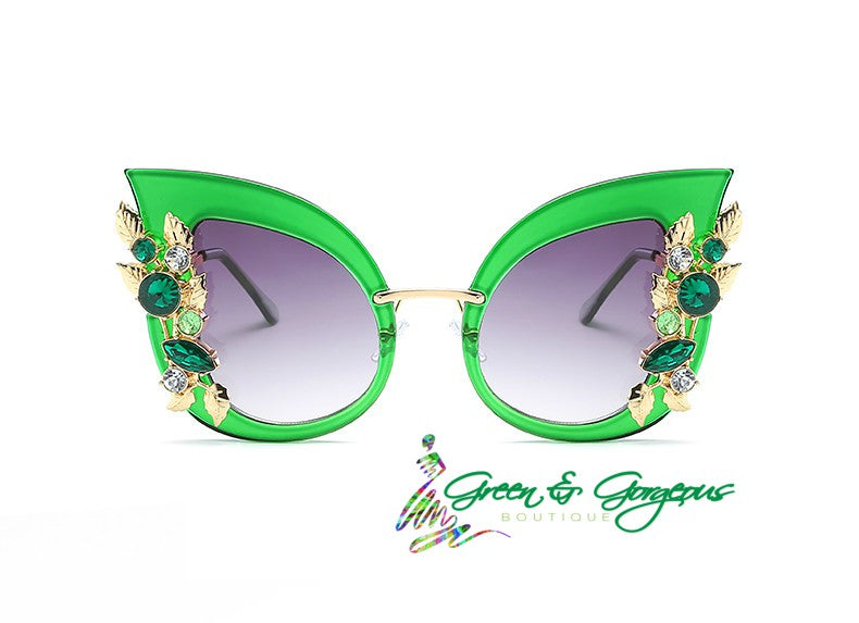 Large Green Cat-Eye Sunglasses