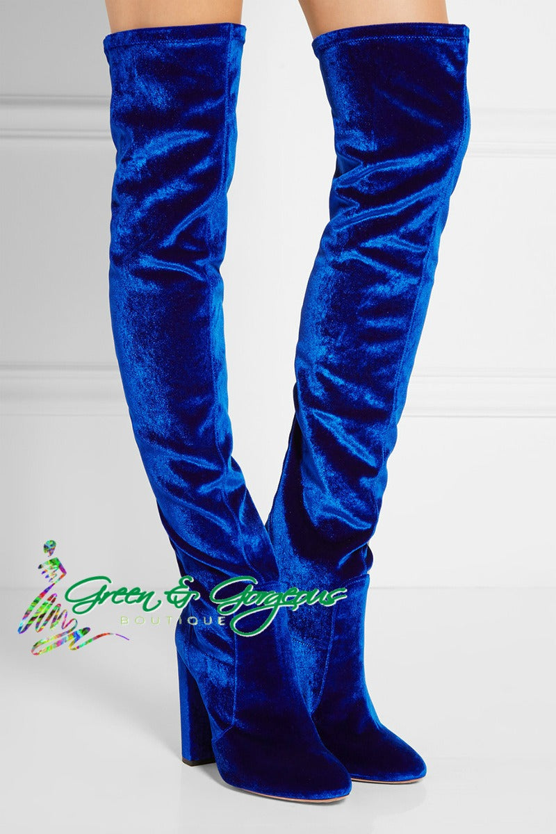 Blue Velvet Thigh Boots