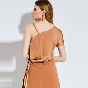 Brown One Shoulder Dress