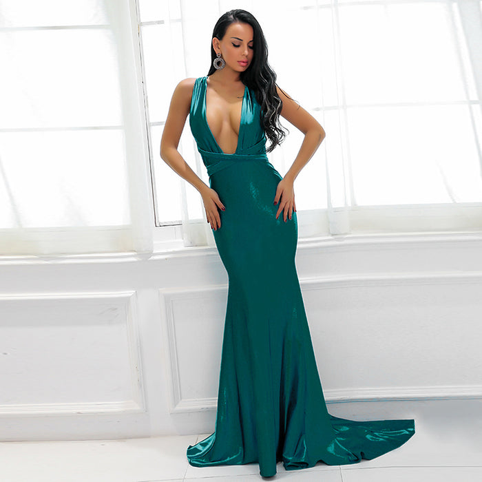Green Backless Wrap Dress