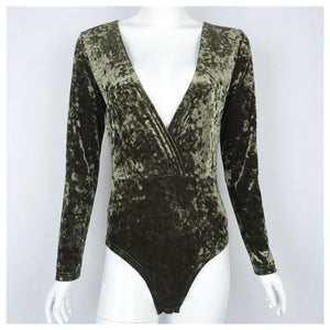 Green Velvet V-Neck Bodysuit