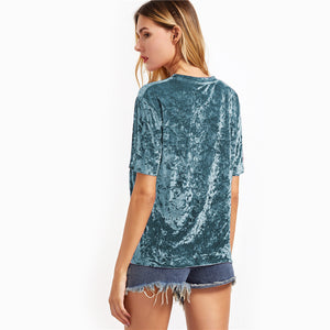 Green Crushed Velvet Top