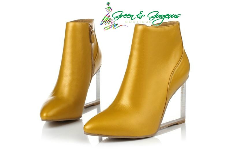 Yellow Ankle Boots Pointed -Toe Genuine Leather High Wedges