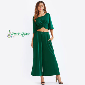 Green Twist Harvest Top + Split Palazzo Pants Set