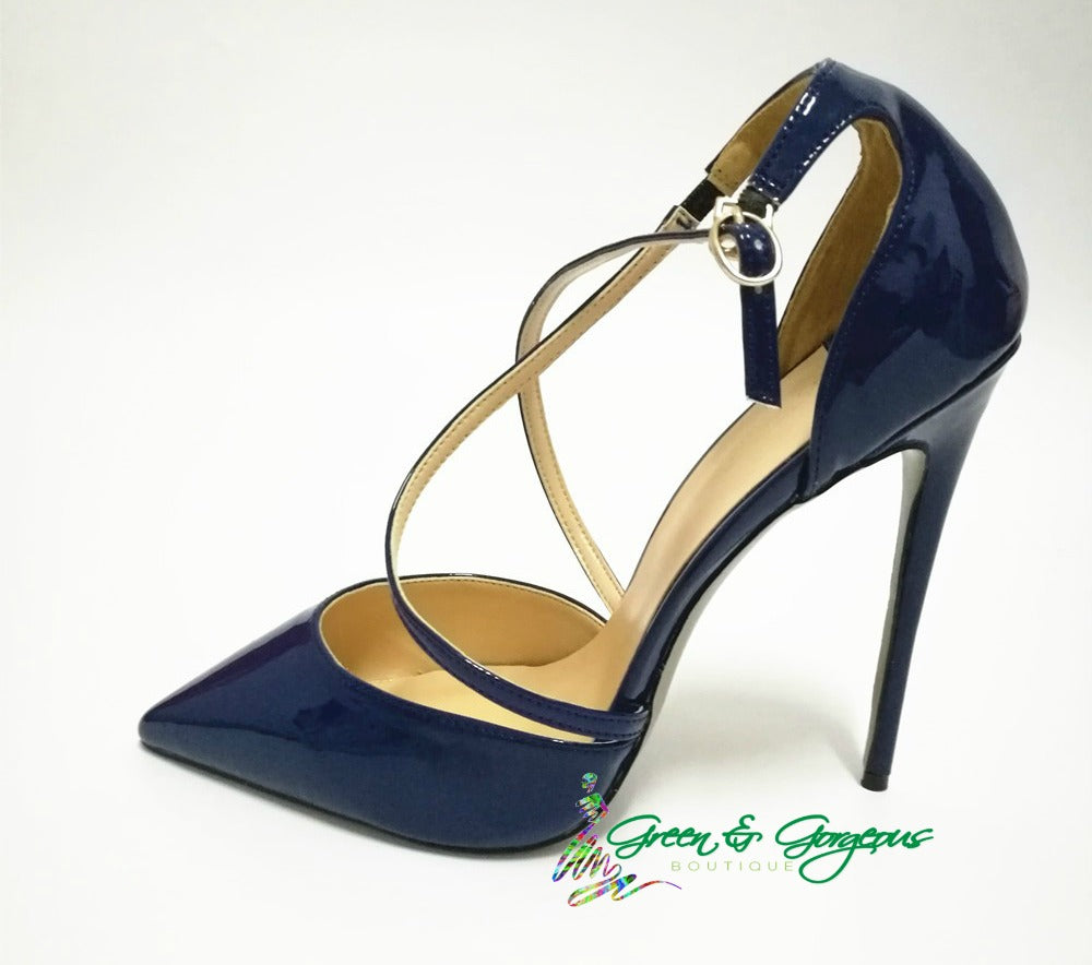 Blue Pointed Toe Pumps