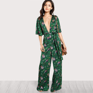 Green Floral Palazzo Style Jumpsuit
