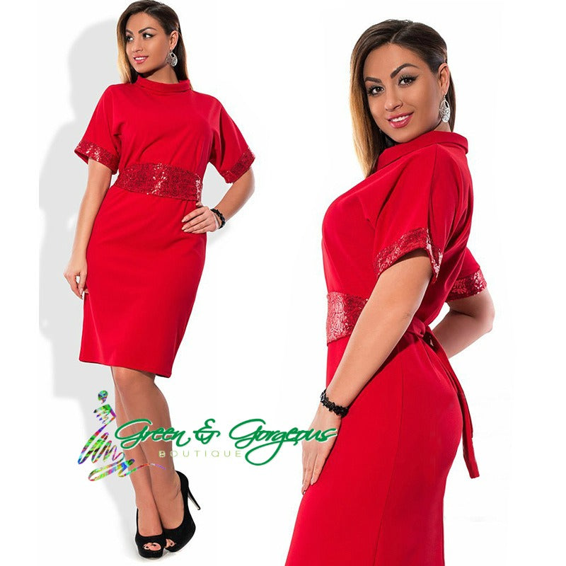 Red Plus Size With Belt Women Dress (Plus Size Only)