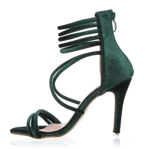 Green Velvet Gladiator High Heels