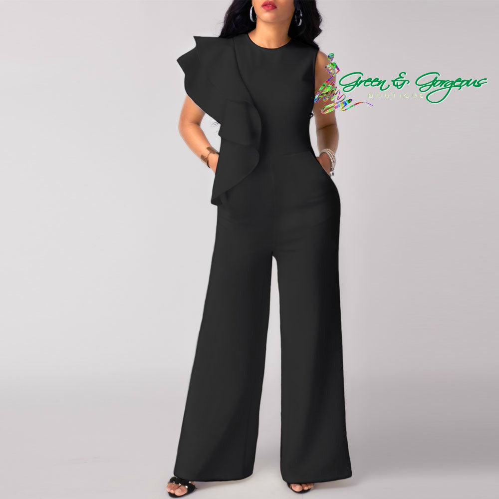 Black Ruffle Shoulder Jumpsuit
