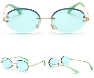 Small Light Green Round Metal Sunglasses